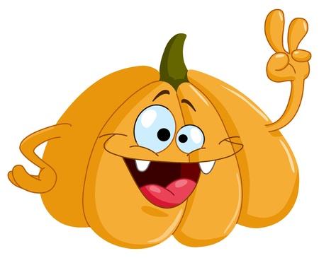 Illustration for Cartoon pumpkin showing V sign - Royalty Free Image