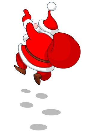 Rear view of cheerful Santa Claus skipping in the snow