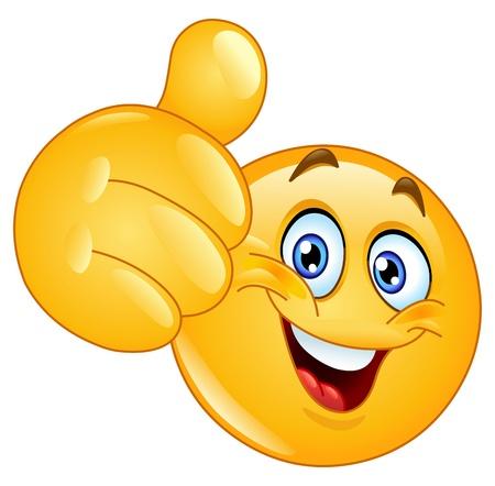 Illustration pour Emoticon showing thumb up - image libre de droit