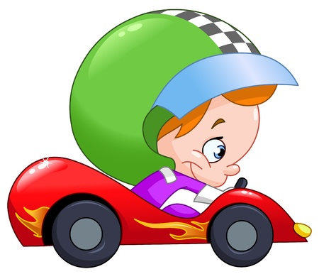 Young kid driving a race car
