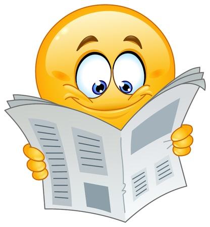 Emoticon reading a newspaper