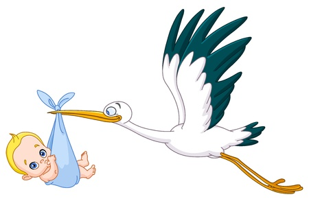 Illustration for Stork carrying a baby boy - Royalty Free Image