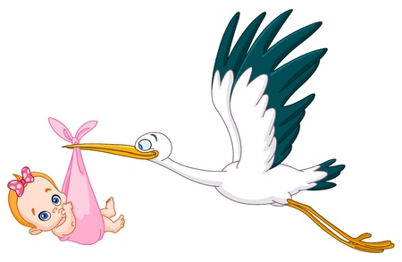 Illustration for Stork carrying a baby girl - Royalty Free Image