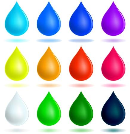 Colorful drops set