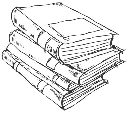 doodle of books stack