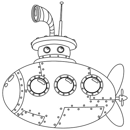 Outlined submarine  Vector illustration coloring page