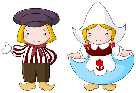 Traditional Dutch couple cartoon