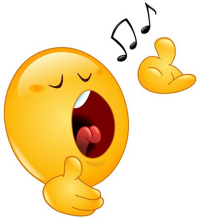 Illustration pour Singing emoticon - image libre de droit
