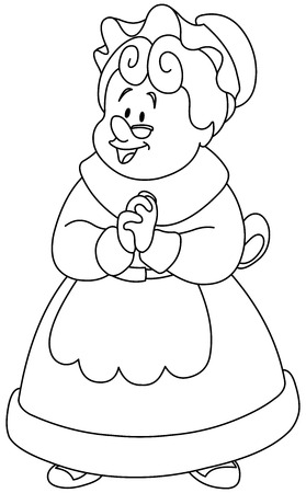 Outlined happy Mrs. Claus.