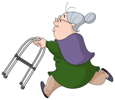 Foto de Old woman running with her walker - Imagen libre de derechos