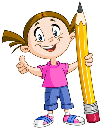Illustration pour Young girl holding a big pencil and showing thumb up - image libre de droit
