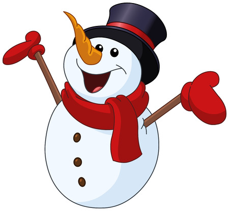 Happy snowman looking up and raising his arms