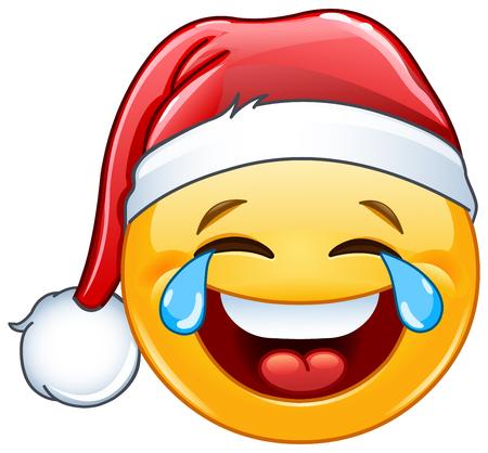 Illustration pour Laughing tears of joy emoticon with Santa hat - image libre de droit