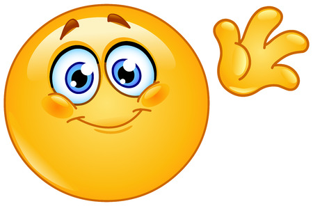 Illustration for Cute emoticon waving hello - Royalty Free Image