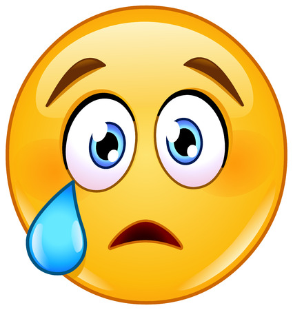 Illustration for crying face emoticon with tear - Royalty Free Image
