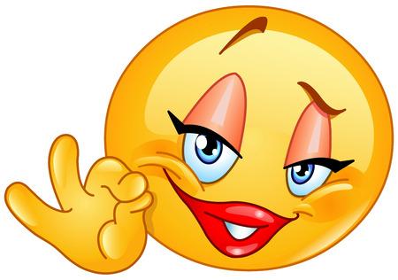 Illustration for Female emoticon showing ok sign - Royalty Free Image