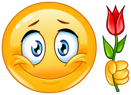 Illustration for Emoticon with flower - Royalty Free Image
