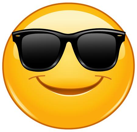 Illustration pour Smiling emoticon with sunglasses - image libre de droit