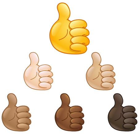 Illustration pour Thumbs up hand emoji set of various skin tones - image libre de droit