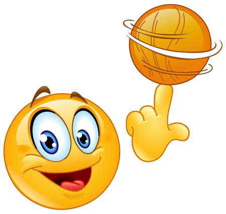 Ilustración de Emoticon spinning a basketball on his finger - Imagen libre de derechos