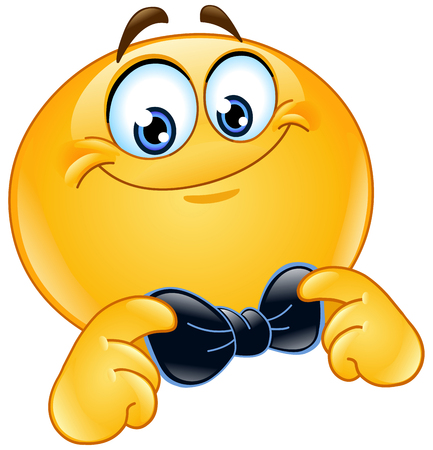 Illustration for Emoticon correcting or straightening his bowtie - Royalty Free Image