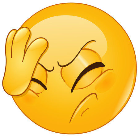 Illustration for Emoticon placing hand on head. Face palm gesture. - Royalty Free Image