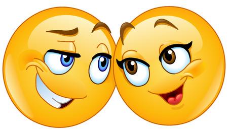 Loving emoticons couple