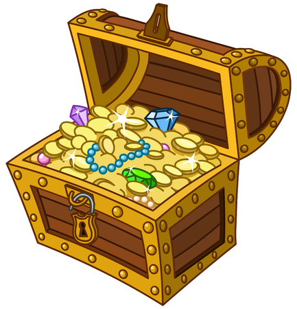 Illustration pour Opened wooden treasure chest full of gold coins, gems and jewelry - image libre de droit