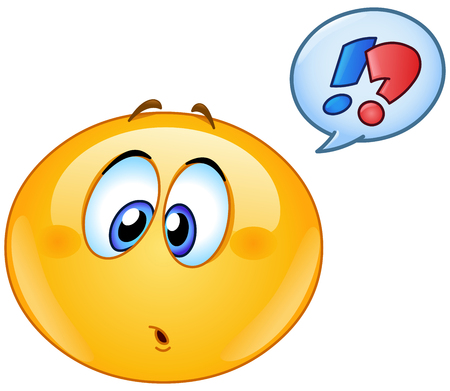 Illustration for Confused emoticon with question and exclamation marks in speech bubble - Royalty Free Image