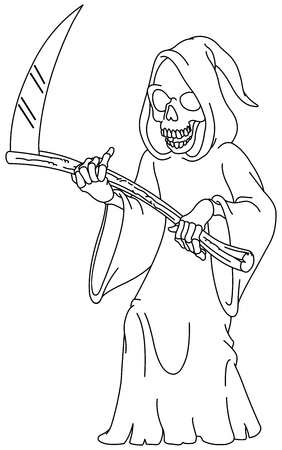 Illustration pour Outlined laughing grim reaper holding a scythe. Vector line art illustration coloring page. - image libre de droit