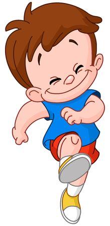 Ilustración de Happy young boy running in skipping - Imagen libre de derechos