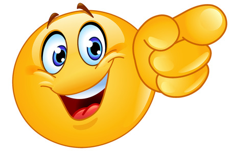 Illustration for Emoticon pointing forward - Royalty Free Image
