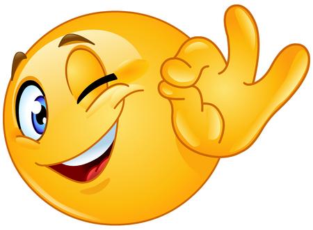 Illustration pour Winking emoticon showing ok sign - image libre de droit