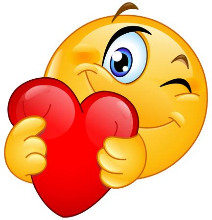 Illustration pour Winking emoticon hugging a red heart - image libre de droit