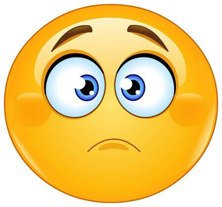Ilustración de Slightly frowning emoji emoticon. Concern, disappointed or sadness expression - Imagen libre de derechos