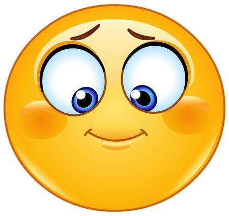 Illustration for Shy emoji emoticon looking down - Royalty Free Image
