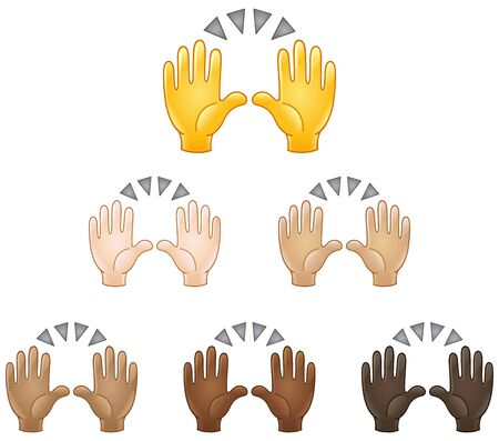 Illustration pour Raising hands in the air emoji set of various skin tones. Celebrating success or another event. - image libre de droit