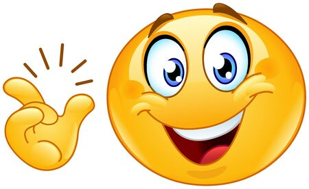 Illustration for Happy emoji emoticon after snapping his fingers want to say: easy, got it or have an idea - Royalty Free Image
