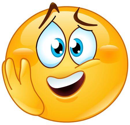 Ilustración de Emotional excited emoji emoticon with hand on cheek - Imagen libre de derechos