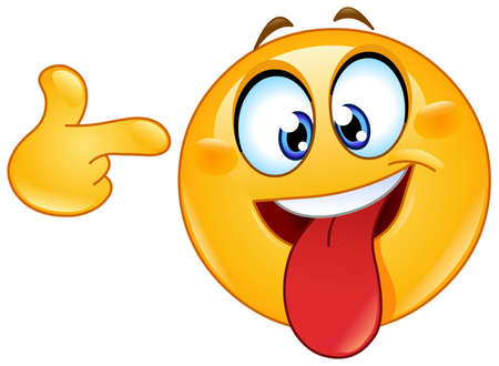 Illustration pour Crazy face emoji emoticon with tongue out pointing to his head - image libre de droit