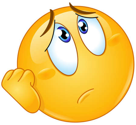 Illustration for Worried or sad emoji emoticon resting his face on hand and looking up - Royalty Free Image