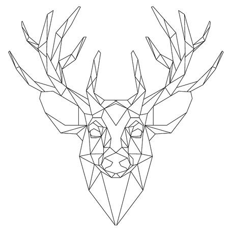 Ilustración de Animal head triangular icon , geometric trendy line design. Vector illustration ready for tattoo or coloring book. Deer head  - triangular. - Imagen libre de derechos