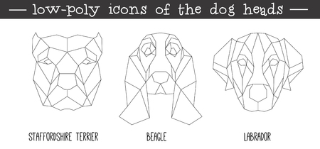 Illustration pour Front view of dog head triangular icon set, geometric trendy line design. Vector illustration for tattoo or coloring book.Home animal collection.Staffordshire terrier, Beagle, Labrador. - image libre de droit