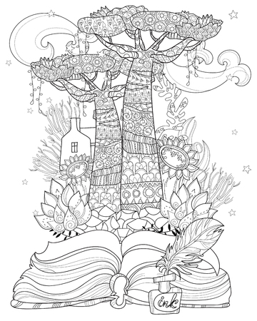 Hand drawn doodle outline tree decorated with floral ornaments from story magic .Vector zen illustration.Floral ornament.Sketch for tattoo, poster or adult coloring pages.Boho style.