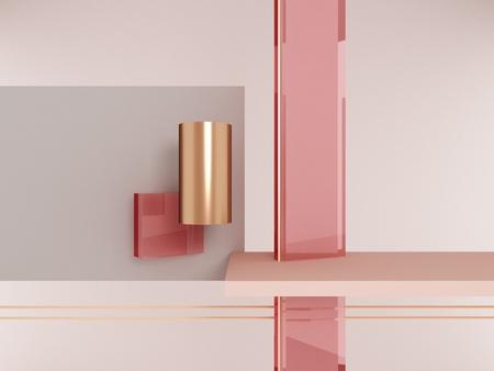 Photo pour Geometric shapes pink and gold - image libre de droit