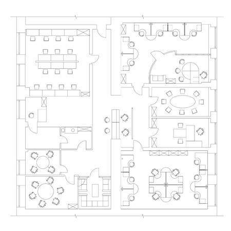 Illustration pour Standard furniture symbols used in architecture plans icons set, planning icon set, graphic design elements. Small office - top view plans. Vector isolated. - image libre de droit