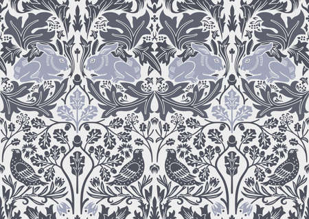 Illustration pour Hand drawn seamless pattern ornament with hare and bird in foliage. Vector illustration. - image libre de droit