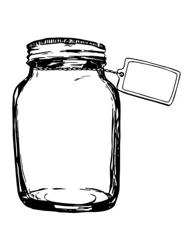 Illustration pour Vector jar with label. Hand-drawn artistic illustration for design, textile, prints - image libre de droit