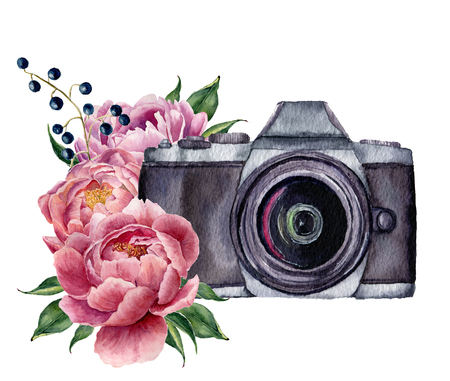 Foto de Watercolor photo label with peony flowers. Hand drawn photo camera with peonies, berries and leaves isolated on white background. For design, prints or background. - Imagen libre de derechos