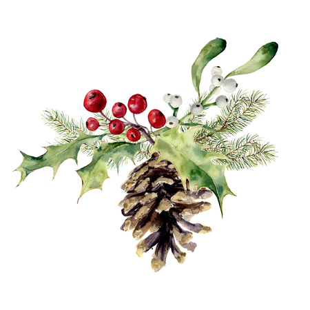 Photo pour Watercolor fir cone with christmas decor. Pine cone with christmas tree branch, holly and mistletoe on white background. Party element for design, print. - image libre de droit